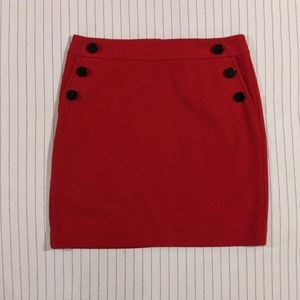 Loft | Red Mini Skirt with Buttons